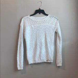 Abercrombie kids white sparkle sweater with lace!